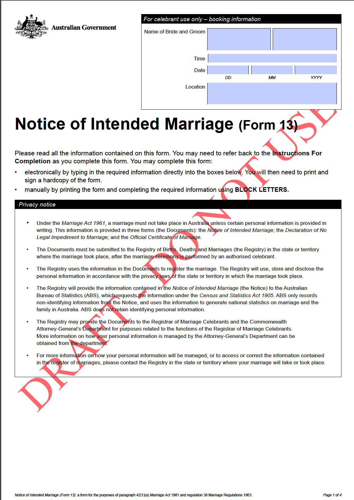 CoCA submission Marriage Forms 2017